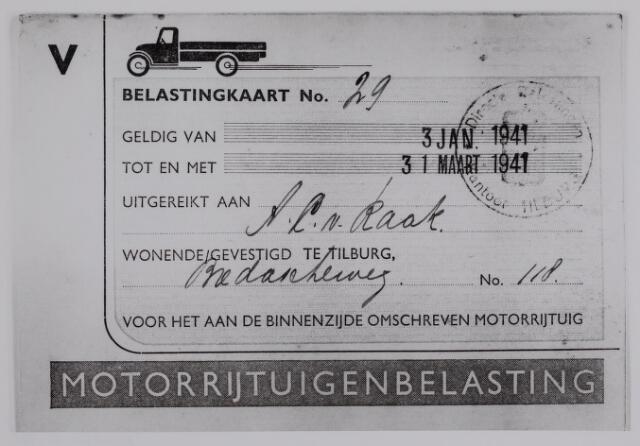 040261 - Belastingkaart motorrijtuigenbelasting A.C. van Raak uit 1941
