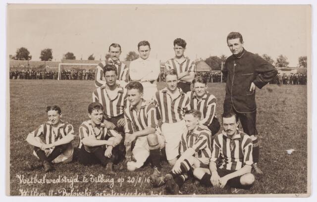 054031 - Sport. Voetbal. Willem II. In de 1e wereldoorlog waren in Tilburg een groot aantal Belgische vluchtelingen. Op 20 aug. 1916 speelde Willem II een wedstrijd tegen een elftal van deze Belgen.