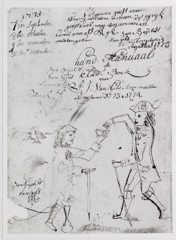 042508 - Armenzorg. Handmanuaal of kladboek van armmeester J.J. van Gils over de jaren 1773-1774. Tekening van een bedelaar. Links van hem een duif, de verwijzing naar de H. Geestarmen.