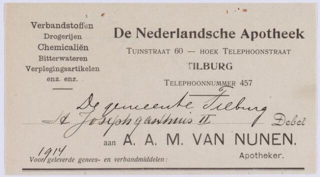 060833 - Briefhoofd. Nota van De Nederlandsche Apotheek, Tuinstraat 60, apotheker A.A.M. van Nunen, voor de gemeente Tilburg