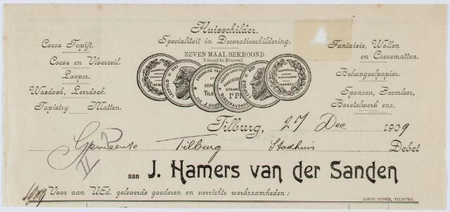 060243 - Briefhoofd. Nota van J. Hamers-van der Sanden, huisschilder,  voor de gemeente Tilburg