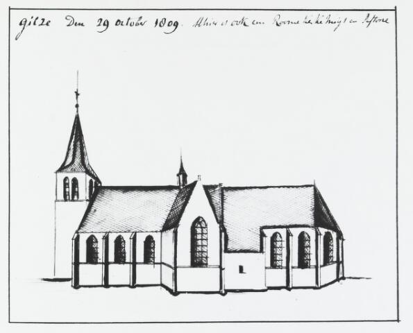 056057 - Tekening. R.K. Kerk en pastorie in Gilze