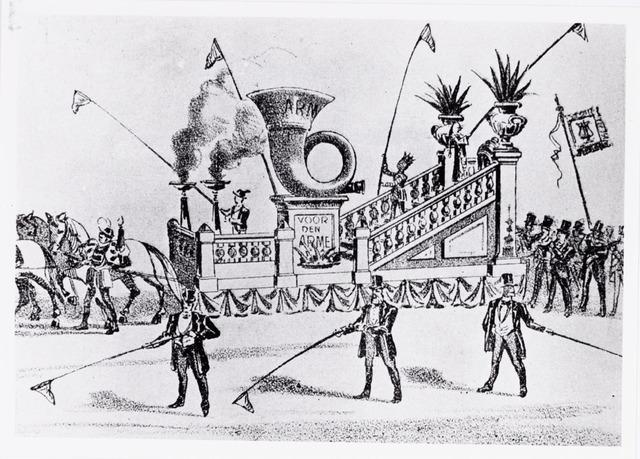 048867 - Bij gelegenheid van het 50-jarig bestaan in 1893 van de Nieuwe Koninklijke Harmonie werd een grote optocht door het centrum van Tilburg georganiseerd. Muzikale bedelwagen voor 'den arme' praalwagen no. 15.