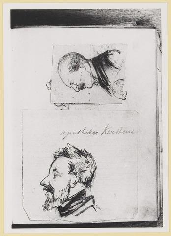 """073453 - tekening door mr. Abraham Hendrik Balbian Verster (1830-1915) Geboren te  Amsterdam overleden te Oisterwijk. Hij woonde met met zijn gezin in 'De Drye Swaantjes"""" aan de Lind. Hij was kantonrechter te Boxtel en Tilburg, bovendien was hij rentmeester over de goederen van baron van Lijnden, hij was stichter van de Israëlische begraafplaats aan de Hondsbergselaan. Een aantal schetsportretten van zijn hand zijn bewaard gebleven."""