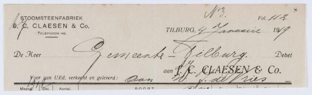 059849 - Briefhoofd. Nota van Stoomsteenfabriek J. C. Claesen & Co voor gemeente Tilburg