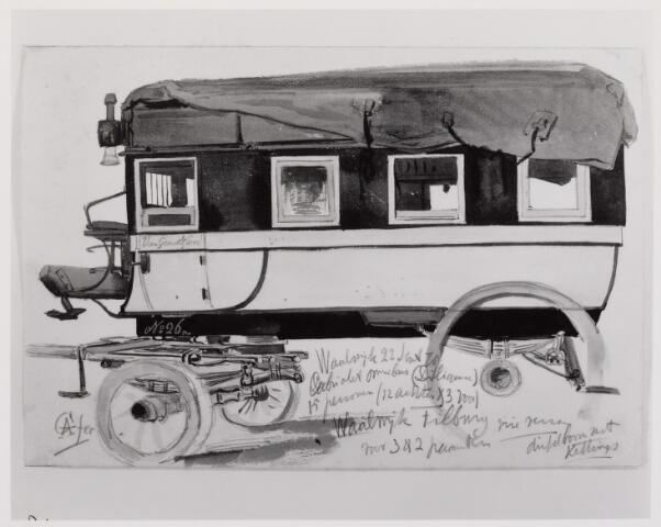 041454 - De diligence Tilburg - Waalwijk werd getrokken door twee 'Waalse' paarden en bood plaats aan negen personen. A. Grolman tekende de koets in 1879. hier een cabriolet omnibus voor 15 personen (12 achter en 3 voor) van de firma van Gend & Loos.