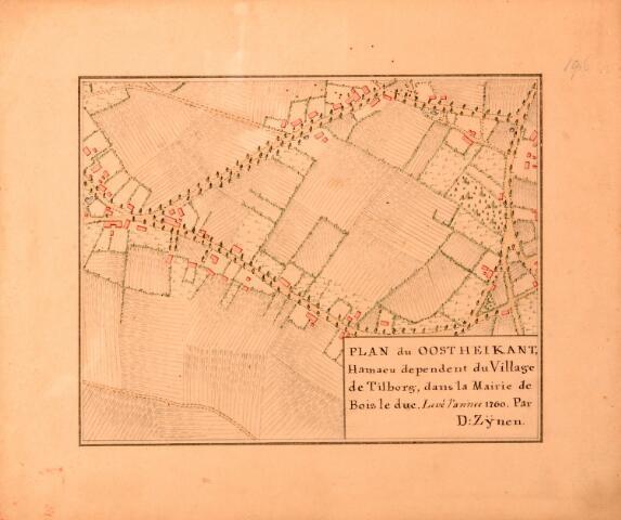 068656 - Kaart. Oost Heikant. Fragment van de kaart van Diederik Zijnen in 1760, gekopieerd in 1962 door archiefambtenaar Leo Langeweg.