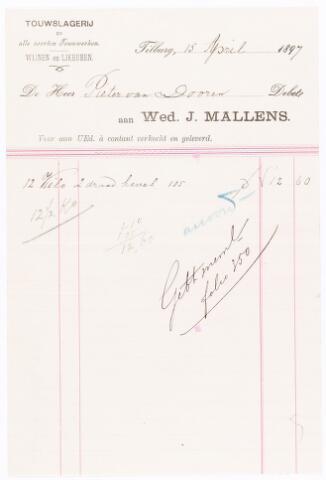 060647 - Briefhoofd. Nota van Wed. J. Mallens, touwslagerij en alle soorten Touwwerken voor Pieter van Dooren te Tilburg