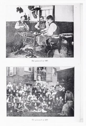 038408 - Nijverheid. Schoen- en lederindustrie. Personeel van de Koninklijke Stoom-Schoenfabriek J. van Arendonk, Tilburg in 1888 en 1895. Jan van Arendonk (1863-1909), zoon van schoenmaker Cornelis van Arendonk en Johanna C. Moonen, kwam na de dood van zijn vader in 1884 aan het hoofd van een zeer bescheiden bedrijf met drie knechten. De vroegere schoenmakerswerkplaats was uitgegroeid tot een flinke fabriek Jan van Arendonk's Schoen- en Lederfabrieken met 150 man personeel.