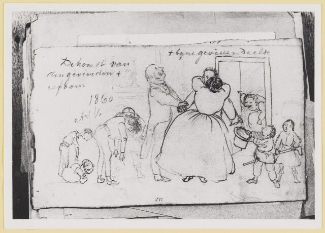 """073443 - tekening door mr. Abraham Hendrik Balbian Verster (1830-1915) Geboren te  Amsterdam overleden te Oisterwijk. Hij woonde met met zijn gezin in 'De Drye Swaantjes"""" aan de Lind. Hij was kantonrechter te Boxtel en Tilburg, bovendien was hij rentmeester over de goederen van baron van Lijnden, hij was stichter van de Israëlische begraafplaats aan de Hondsbergselaan. Een aantal schetsportretten van zijn hand zijn bewaard gebleven."""