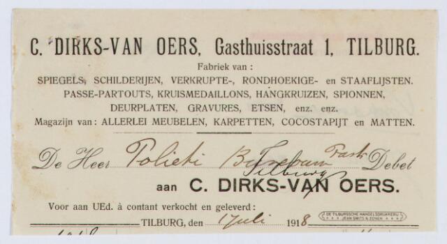 059940 - Briefhoofd. Nota van C. Dirks - van Oers, Gasthuisstraat 1 (Fabriek van spiegels, schildereijen enz.) voor de Politie van Tilburg