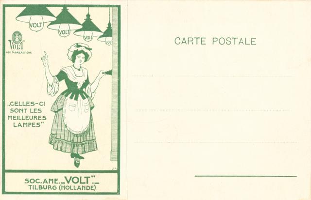 651471 - VOLT. Gloeilampen, lampen, verlichting. Een briefkaart voor Frans sprekende landen met prominente reclame. Zo had men er ook een met Duitse tekst en welhaast zeker met Engelse.