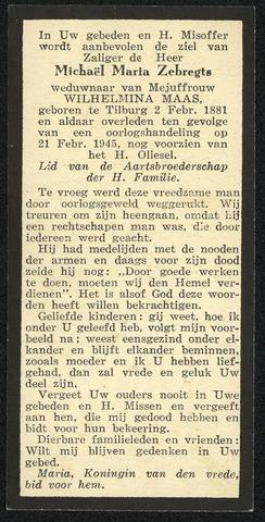 604516 - Bidprentje. Tweede Wereldoorlog. Oorlogsslachtoffers. Michael Maria Zebregts; werd geboren op 1 februari 1888 in Tilburg en overleed op 21 februari 1945 in Tilburg.  Op woensdag 21 februari 1945 vloog, even na half twaalf in de ochtend, een vliegtuig  dat dertig scherfbommen uitwierp boven het noordelijk deel van Tilburg. Er hing die dag een zware mist en te zien was er niets, hooguit te horen. Het merendeel van de bommen viel in straten en op open terreinen, een deel op woningen. Als gevolg van dit bombardement overleden 14 Tilburgers waaronder Michael Zebregts.