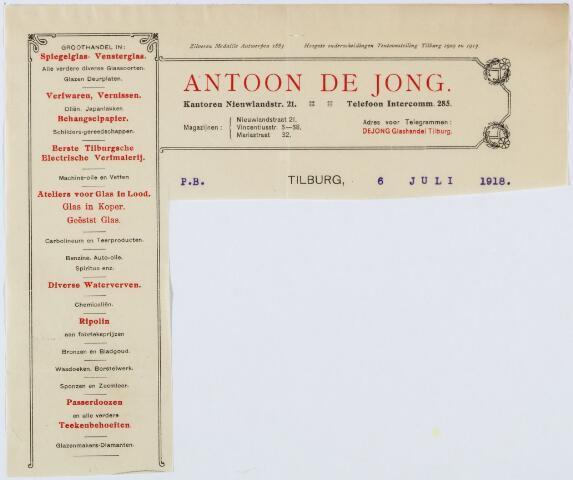 060404 - Briefhoofd. Briefhoofd  van Antoon de Jong, Eerste Tilburgsche Electrische Verfmalerij, kantoor Nieuwlandstraat 21 en magazijn aan de Vincentiusstraat 3. Vanaf 1961 wordt de bedrijfsnaam Antoon de Jong Junior.