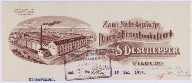 061035 - Briefhoofd. Briefhoofd van Firma S. Deschepper, Zuid Nederlandsche Dames & Heerenhoedenfabriek, Zuid Oosterstraat 71