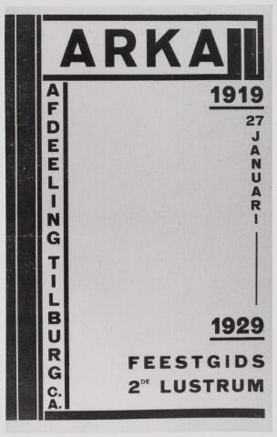 041049 - omslag feestgids t.g.v. viering 2e lustrum ARKA afd. Tilburg, 1919 -  1929.