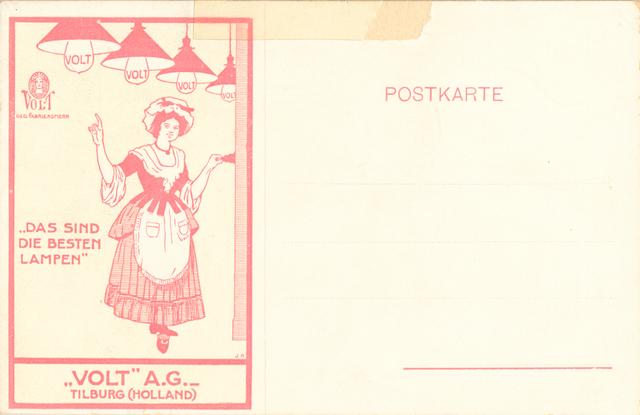 651472 - VOLT. Gloeilampen, lampen. verlichting. Briefkaart met Duitse tekst.  Zo was er ook een met Franse en welhaast zeker ook met Engelse tekst. De reclame is prominent aanwezig.