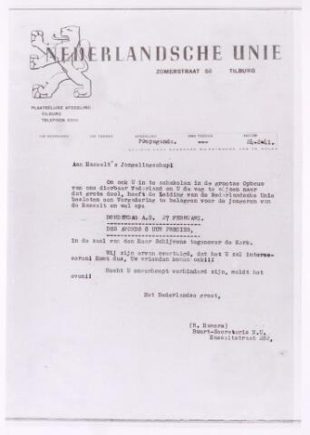 013509 - Tweede Wereldoorlog. Nederlandsche Unie. Brief van buurtsecretaris R. Hamers van de Tilburgse afdeling van de Nederlandsche Unie, gericht aan de jeugd van de parochie Hasselt, om een vergadering te bezoeken waarin de doelstellingen van de Unie worden toegelicht