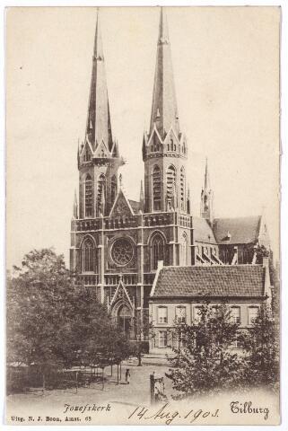 000877 - Heuvel met lindeboom, kerk en pastorie van St. Jozef en op de voorgrond een pomp.