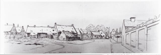 028058 - Tekening. Tekening van H.Corvers van de Veldstraat , thans Pastoor van Beurdenstraat/ hoek Zustersstraatje, Pasen 1957