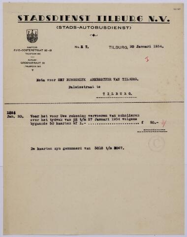 061164 - Briefhoofd. Nota van Stadsdienst Tilburg N.V., Zuid-Oosterstraat 80-81 voor het burgerlijk Armbestuur van Tilburg