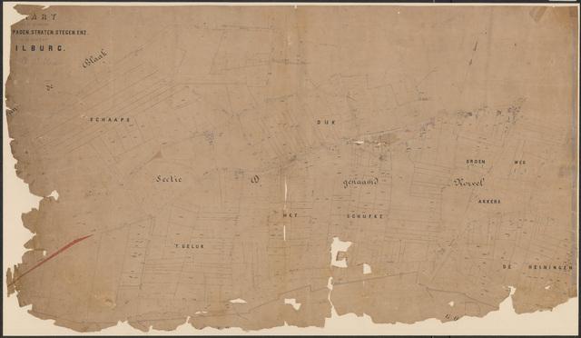 652647 - Wegenlegger. Kaart van de openbare wegen, voetpaden, straten, stegen, etc. Tilburg, Sectie D (Korvel), blad 3. Schaal 1:2500. Ongedateerd.