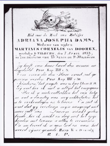 008213 - Bidprentje. Dooren-Dams, Adriana Josepha van 1757-1833.Weduwe van Martinus Cornelis van Dooren overleden te Tilburg, 7 april 1833 in de ouderdom van 75 jaren en 9 maanden.