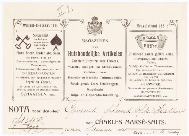 060660 - Briefhoofd. Nota van Charles Marsé-Smits, Tilburg's oudste en meest uitgebreide Magazijn van artikelen voor Huishoudelijk-Gebruik en Ziekenverpleging, Willem-II-straat 120 voor de gemeente Tilburg