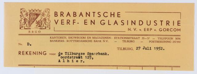 060060 - Briefhoofd. Nota van Brabantse verf- en glasindustrie Van Erp Van Gorcom B.V., Stationsstraat 35-37, voor Tilburgse Spaarbank, Noordstraat 125