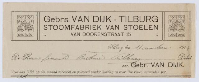 060015 - Briefhoofd. Nota van Gebrs. Van Dijk - Van Doorenstraat 15, Stoomfabriek van Stoelen voor de gemeente Tilburg