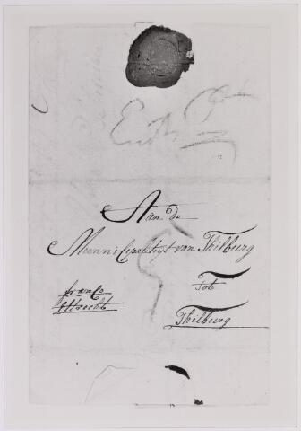 041649 - Postbrieven. Envelop van een brief van Groningen gericht aan de Municipaliteit van Tilburg.