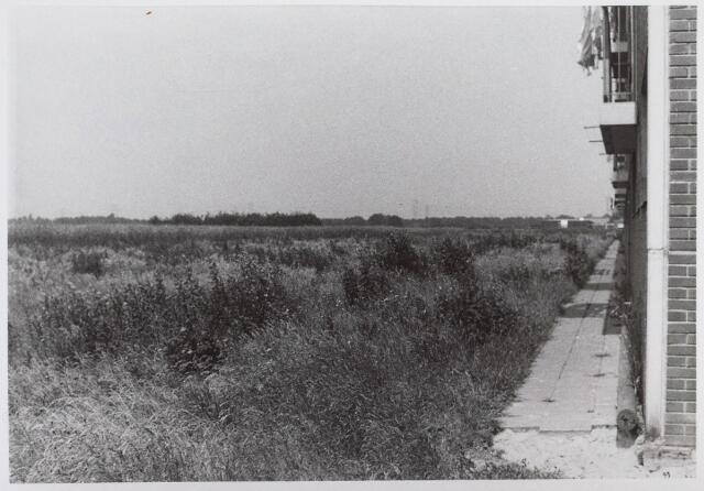 026346 - Achterzijde van een flat aan de Mascagnistraat, dat ten tijde van deze foto (eind juni 1972) nog midden in een landelijk gebied stond