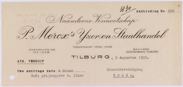 060724 - Briefhoofd. Nota van de naamlooze vennootschap P. Mercx's ijzer- en staalhandel, voor de gemeentereiniging Breda