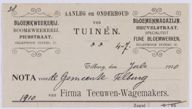 061209 - Briefhoofd. Nota van Firma Teeuwen-Wagemakers, aanleg en onderhoud van tuinen, Piusstraat voor de gemeente Tilburg