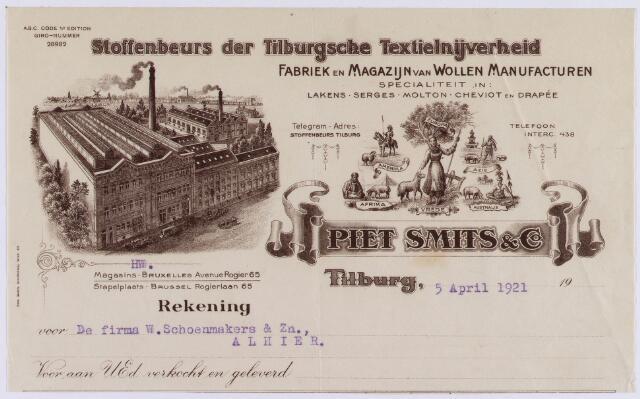 061124 - Briefhoofd. Nota van Piet Smits & Co, stoffenbeurs der Tilburgsche Textielnijverheid voor de firma W. Schoenmakers & Zn te Tilburg