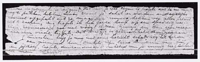 013736 - Tweede Wereldoorlog. Verzet. Fragment van een brief van verzetstrijder Wim Berkelmans waarin hij zijn vrouw Maria Gerarda Hamers meedeelt dat hij is opgepakt zie: https://wikimiddenbrabant.nl/Wim_Berkelmans