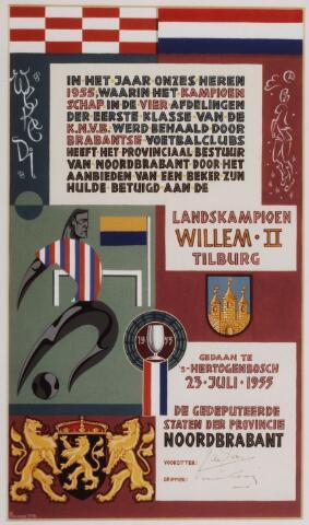 054078 - Sport. Voetbal. Willem II. Op 23 juli 1955 werd Willem II tesamen met de elftallen van Eindhoven, N.A.C. en P.S.V. ontvangen het provinciebestuur van Noord-Brabant ter gelegenheid van het behalen van het landskampioenschap. In het eerste jaar van het betaalde voetbal in Nederland werd nog in 4 afdelingen gespeeld. In alle afdelingen werd een Brabantse club kampioen. Uiteindelijk werd Willem II landskampioen door de laatste wedstrijd in Eindhoven met 3 - 2  te winnen.