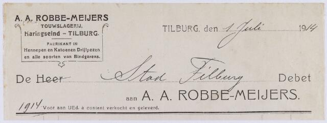 060990 - Briefhoofd. Nota van A.A. Robbe - Meijers, touwslagerij, Haringseind voor stad Tilburg