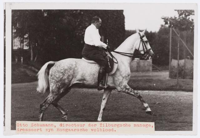 053856 - Sport. Paardrijden. Otto Schumann, directeur van de Tilburgse Manege dresseert zijn Hongaarse volbloed