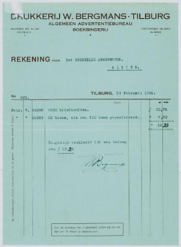 059577 - Briefhoofd. Rekening van Drukkerij W. Bergmans voor Het Armbestuur te Tilburg wegens geleverd materiaal