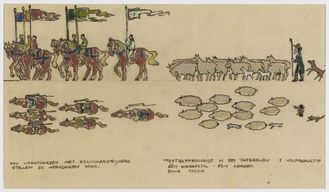 068599 - Processies. Ontwerp-fragment van de H. Harthulde-stoet, door Frans Mandos en Jos Zeegers T.zn.