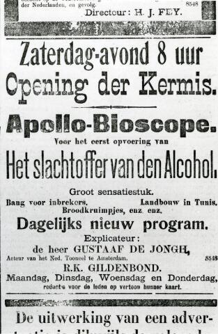 065977 - Kermis. Advertentie uit de Nieuwe Tilburgsche Courant.  Opening der Kermis De kermis was naast feest met veel attracties, een plek waar het volk kennis maakte met theater en film.