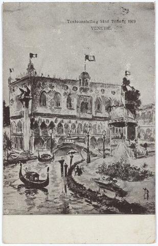 """003285 - De stad Venetië op de tentoonstelling Stad Tilburg. Er werd zelfs een 'Venetiaansch Tentoonstellingslied' gecomponeerd, waarvan het refrein luidde: """"Bella Venezia, Stella d' Italia, La norte illumina, Com Maestà, Pel nostro convito, Tiori di guibilo, Ora mischia"""" Op maandag 19 juli 1909 werd een groot gecostumeerd Ventiaans avondfeest georganiseerd."""