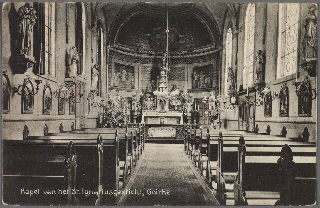 010257 - Interieur kapel van het St. Ignatiusgesticht aan de Goirkestraat.