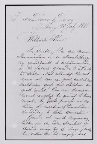 037624 - Textiel. Verzoek van de directie van Van Dooren & Dams van eind juli 1886 om de produktie voor 6 à 7 weken te mogen staken om een stoommachine en -ketel te kunnen plaatsen. Om het inkomensverlies voor de arbeiders zo kort mogelijk te laten duren, werd er een verzoek aan vastgeknoopt om de timmerlieden en metselaars ook op zondag te mogen laten doorwerken