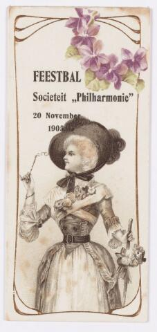 052662 - Muziekleven. Sociëteit Phil-Harmonie aan de Kloosterstraat . Balboekje van Marie Brands-van Vlijmen. feestbal op 20 november 1905.