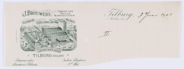 059780 - Briefhoofd. Briefhoofd van J. Brouwers, fabriek van Wollen Manufacturen, Nieuwlandstraat