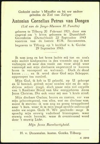 604377 - Bidprentje. Tweede Wereldoorlog. Oorlogsslachtoffers. Antonius Cornelis P. van Dongen, geboren op 20 februari 1921 in Tilburg en overleden op22 september 1943 in Düsseldorf, Duitsland. De reden van zijn overlijden is onbekend.
