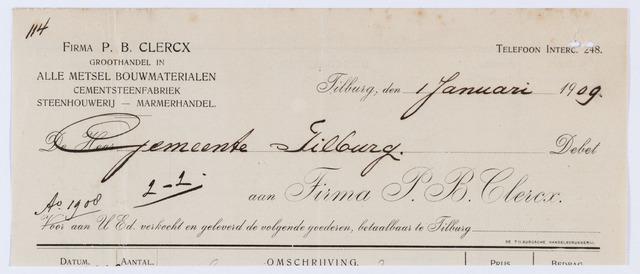 059852 - Briefhoofd. Nota van Firma P.B. Clercx, groothandel in alle metsel bouwmaterialen,voor de gemeente Tilburg