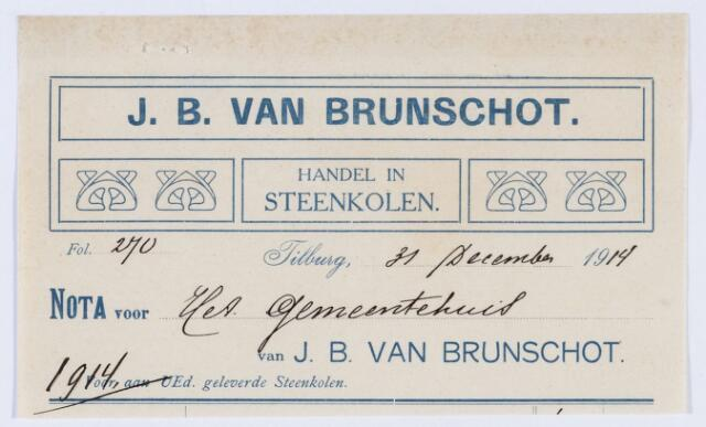 059797 - Briefhoofd. Briefhoofd  van J. B. van Brunschot, Spoorlaan , Handel en Gros in Steenkolen- Anthracit enz.